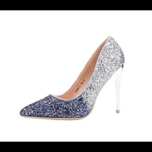 Shoes - New w/o tags Size 7 silver to navy ombré heels.